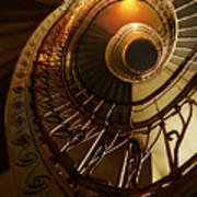 Golden And Brown Spiral Stairs Art Print