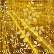 Golden And White Leaves Art Print