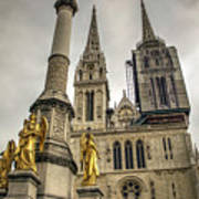 Golden Angel Statues In Front Of The Cathedral Art Print