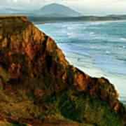 Golden Beach Cliff Side  Painterly Art Print