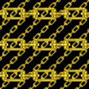 Golden Chains With Black Background Seamless Texture Art Print