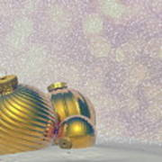 Golden Christmas Balls - 3d Render Art Print