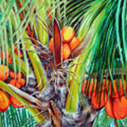 Golden Coconuts Art Print