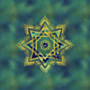 Golden Decorative Star Of Lakshmi - Ashthalakshmi  Art Print