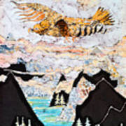 Golden Eagle Flies Above Clouds And Mountains Art Print by Carol  Law Conklin