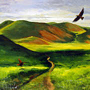 Golden Eagles On Green Grassland Art Print