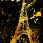 Golden Eiffel Tower Paris Art Print