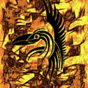 Golden Flight Contemporary Abstract Art Print