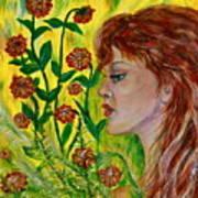 Golden Flora Art Print