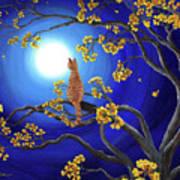 Golden Flowers In Moonlight Art Print