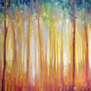 Golden Forest Hidden Unicorn - Large Original Oil Painting By Gill Bustamante Art Print