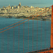 Golden Gate Bridge And San Francisco Skyline Art Print