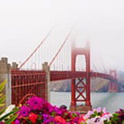 Golden Gate Bridge Flowers 2 Art Print