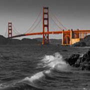 Golden Gate Bridge Sunset Study 1 Bw Art Print