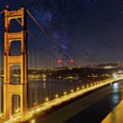 Golden Gate Bridge Under The Starry Night Sky Art Print