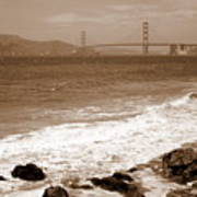 Golden Gate Bridge With Shore - Sepia Art Print