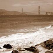 Golden Gate Bridge With Shore - Sepia Art Print
