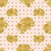 Golden Gold Blush Pink Floral Rose Cluster W Dot Bedding Home Decor Art Print