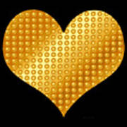 Golden Heart Black  Art Print