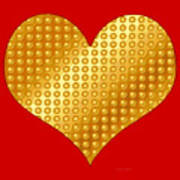 Golden Heart Red Art Print