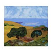 Golden Hills With Oaks Art Print
