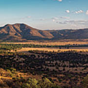 Golden Hour Panorama Of Davis Mountains - Blue And Paradise Mountain And Mount Livermore West Texas Art Print