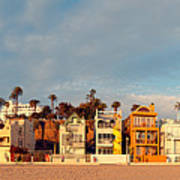 Golden Hour Panorama Of Santa Monica Condos And Bungalows - Los Angeles California Art Print