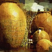 Golden Large Fountain Urns Art Print