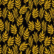Golden Leaf Pattern Art Print