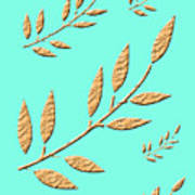 Golden Leaves On Aqua Art Print