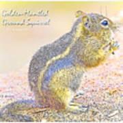 Golden-mantled Ground Squirrel, Digital Art Art Print