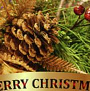 Golden Merry Christmas  Art Print