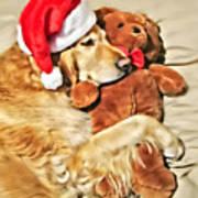 Golden Retriever Dog Christmas Teddy Bear Art Print