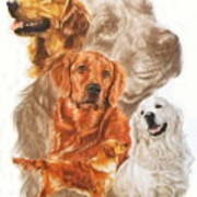Golden Retriever W/ghost Art Print