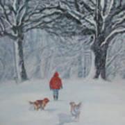Golden Retriever Winter Walk Art Print