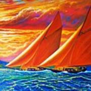 Golden Sails Art Print by Joseph   Ruff