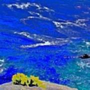 Golden Yarrow Rock Sea Point Lobos Art Print