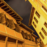 Golden Yellow Night - Chic Zigzags Of Oriel Windows And Serrated Roof Lines Art Print