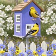 Goldfinch Garden Home Print by Crista Forest