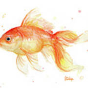 Goldfish Painting Watercolor Art Print