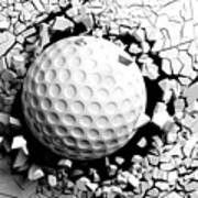 Golf Ball Breaking Forcibly Through A White Wall. 3d Illustration. Art Print