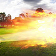 Golf Ball On Fire Art Print