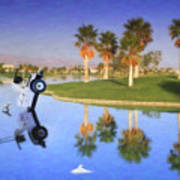 Golf Cart Stuck In Water Art Print