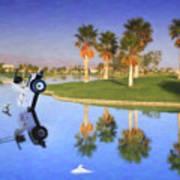 Golf Cart Stuck In Water Art Print