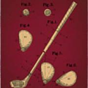 Golf Club Patent Drawing Dark Red 2 Art Print