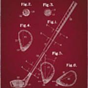 Golf Club Patent Drawing Dark Red Art Print
