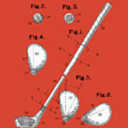 Golf Club Patent Drawing Red Art Print