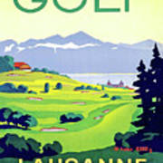 Golf, Lausanne, Switzerland, Travel Poster Art Print