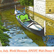 Gondola Boat, Venice, Italy, World Showcase, Epcot, Walt Disney  Art Print