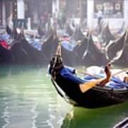 Gondola In Venice In The Morning Art Print